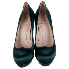 New Fendi Deep Green Satin Platform Pumps Heels Size 37.5 $1050