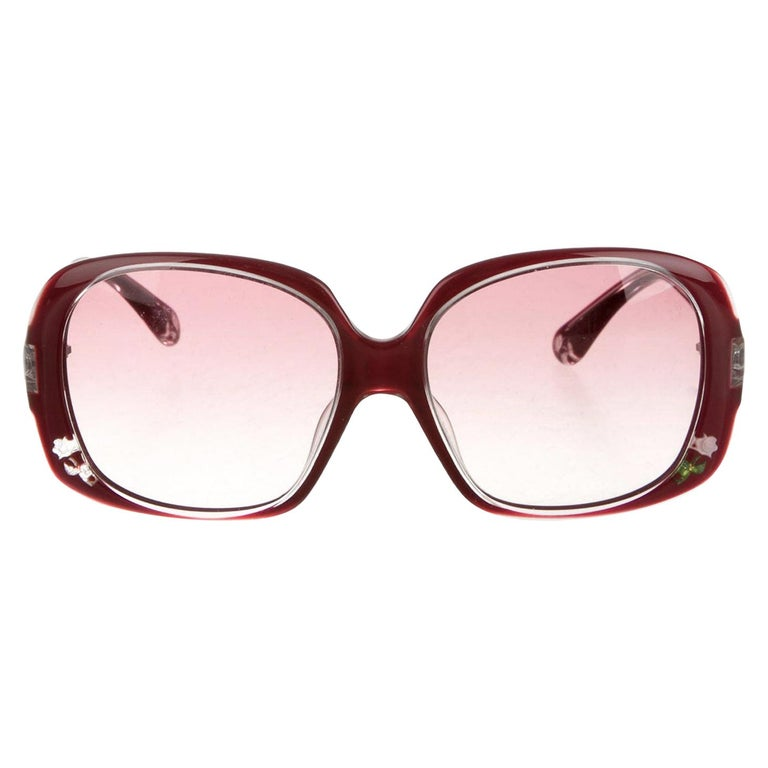 New Fendi Deep Red Rose Inlaid Sunglasses With Case For Sale