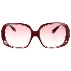 New Fendi Deep Red Rose Inlaid Sunglasses With Case