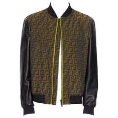 new FENDI FF Zucca monogram vintage logo embroidery leather sleeve bomber EU52