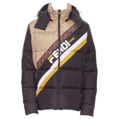 new FENDI Fila Mania black beige Zucca monogram goose down puffer jacket EU50 L