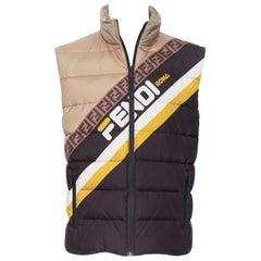 new FENDI Fila Mania black beige Zucca monogram logo goose down puffer vest EU48