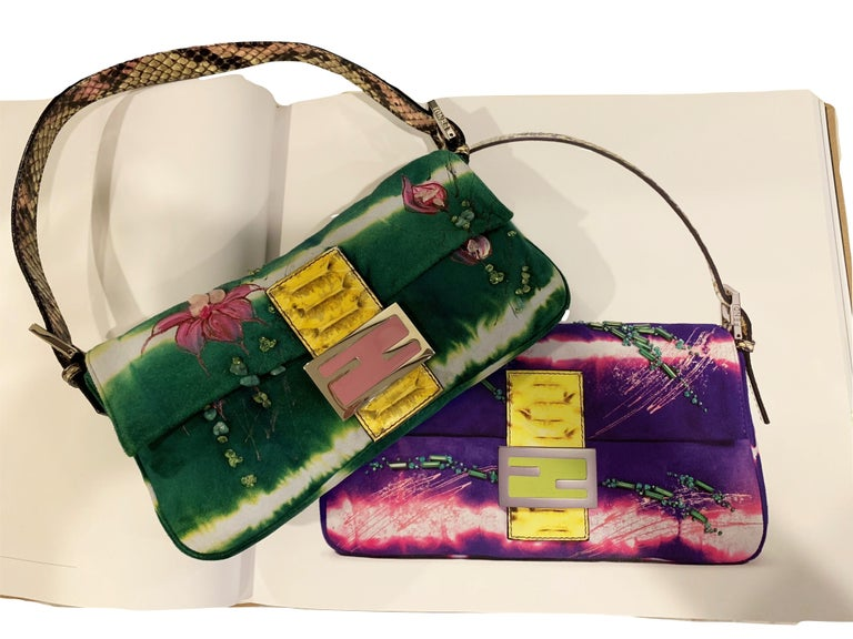 Rare Fendi Baguette Vintage New Minor Interior markings. Brushed Tie Dyed Suede  Hand Painted Floral Accents and Hand Beaded * Multi Colored Yellow and Pinks Python Strap and Front Buckle * Multi Colored Beading Throughout * Silver & Pink Hardware *