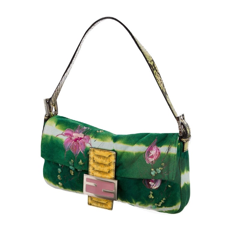 New Fendi Hand Painted Python Bag Featured in the 15th Anniversary Baguette Book In New Condition In Leesburg, VA