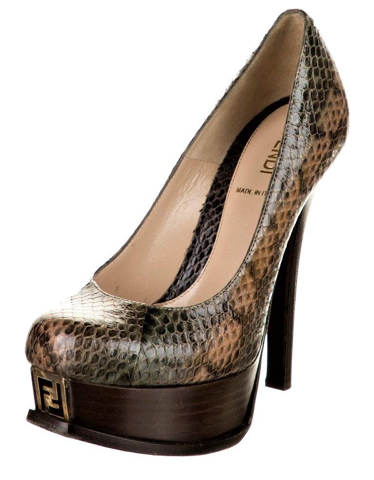 Brand New Stunning Fendi Python Heels Karl Lagerfeld for Fendi Gold FF Toe 100% Python in Nudes, Greens, Grays Size: 36 Heel 5