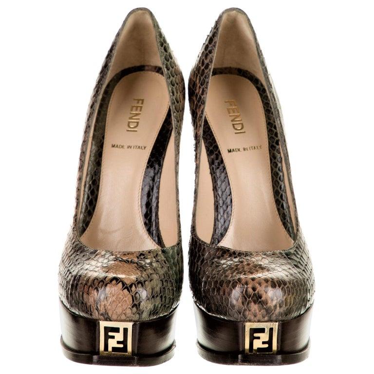 New Fendi Karl Lagerfeld Python Heels Platform Pumps Sz 36 For Sale