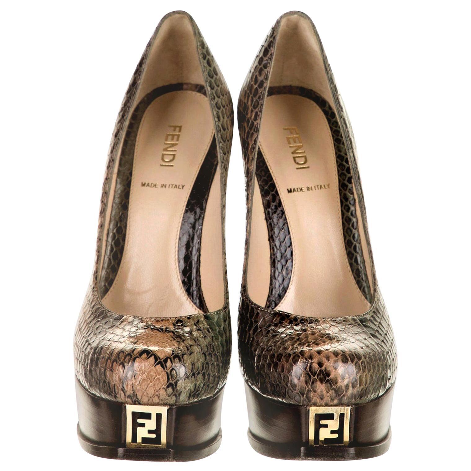 New Fendi Karl Lagerfeld Python Heels Platform Pumps Sz 36