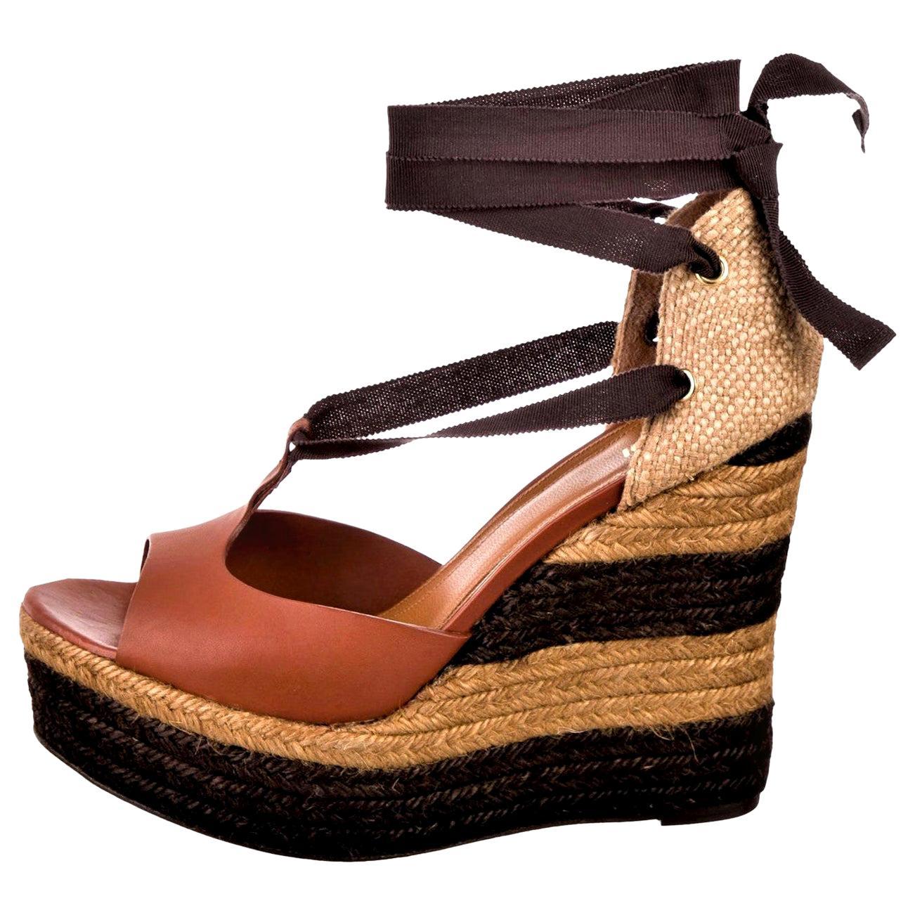 New Fendi Karl Lagerfeld Runway Ad Leather Platform Wedge Heels Sandals Sz 40.5