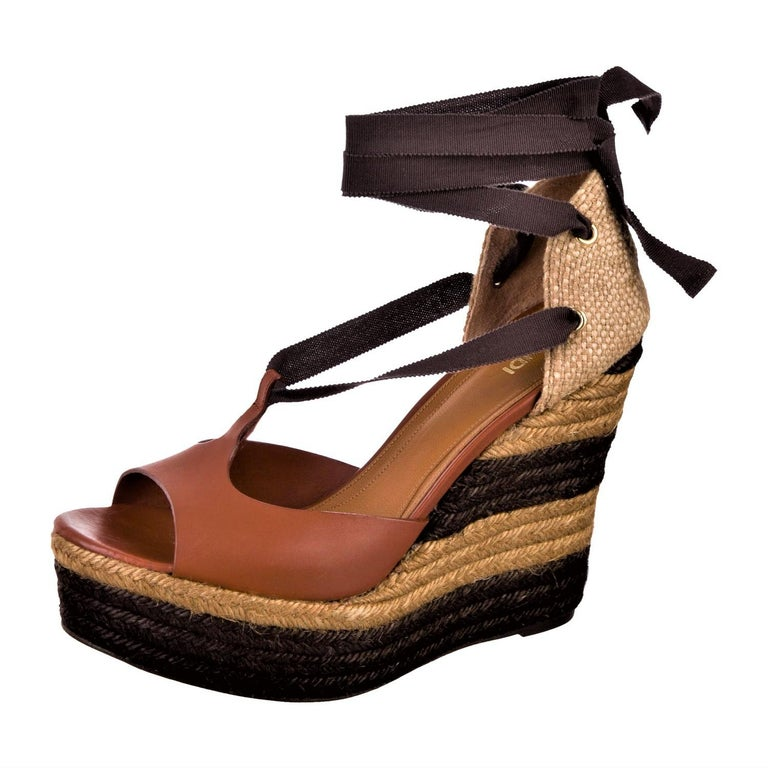 Black New Fendi Karl Lagerfeld Runway Ad Leather Platform Wedge Heels Sandals Sz 40.5 For Sale