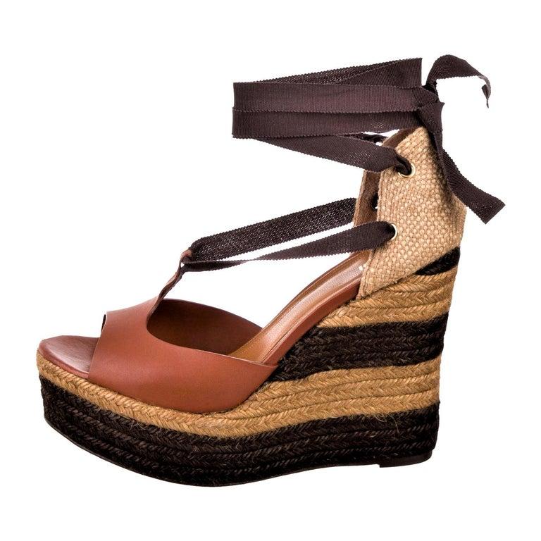 New Fendi Runway Ad Leather Platform Wedge Heels Sandals Sz 40.5 For Sale