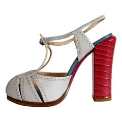 New Fendi Multicolo Red Beige Blue Leather Sandals Heels Shoes
