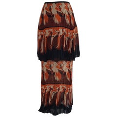 New Fendi Parakeet Print Silk Pleat Two Tier Skirt in Black, Orange and Burgundy