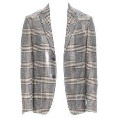 new FENDI Runway glossy coated grey checkered fleece wool blazer jacket IT48 M