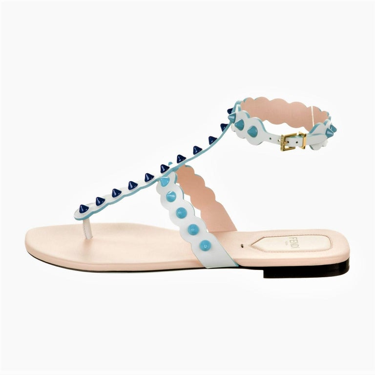 Brand New Stunning Monster Sandals S/S 2017 Runway & Ad Size: 39 White & Blue Leather Heel 0.25