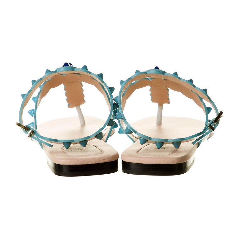 New Fendi S/S 2017 Monster Leather Sandals Flats Sz 39 In New Condition For Sale In Leesburg, VA