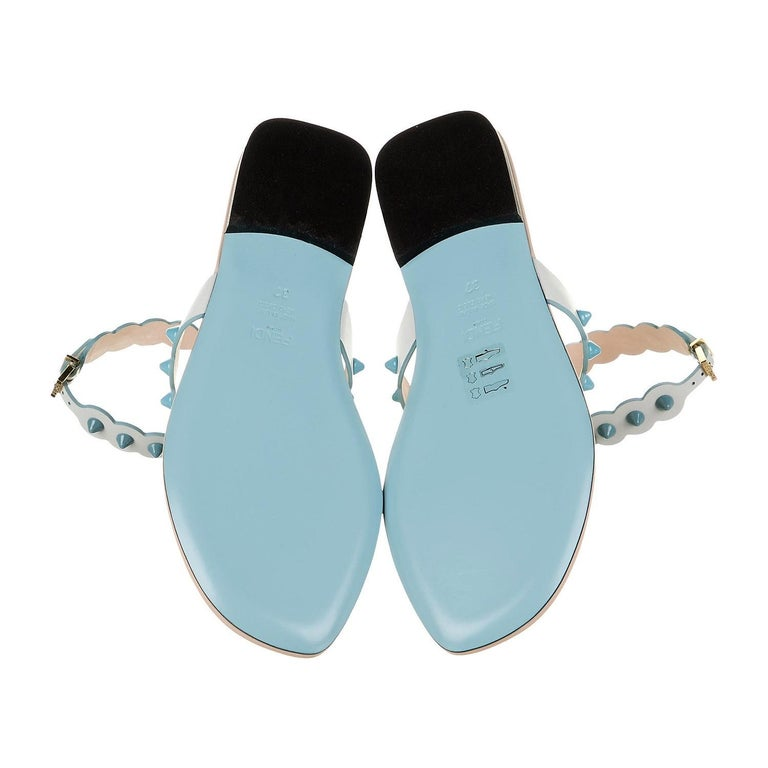 New Fendi S/S 2017 Monster Leather Sandals Flats Sz 39 For Sale 1