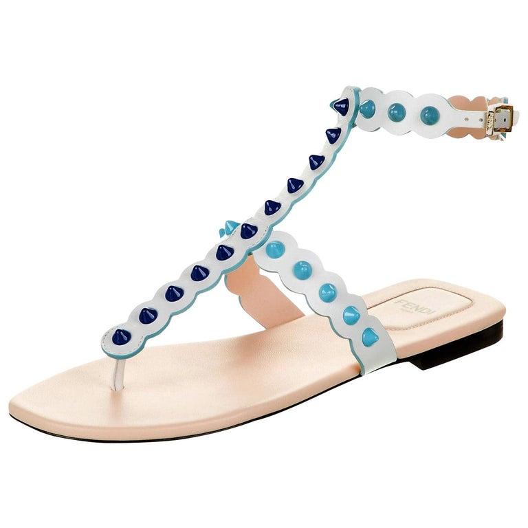 New Fendi S/S 2017 Monster Leather Sandals Flats Sz 39 For Sale