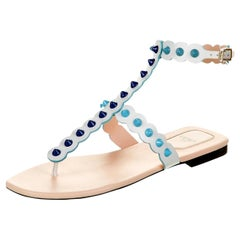 New Fendi S/S 2017 Monster Leather Sandals Flats Sz 39