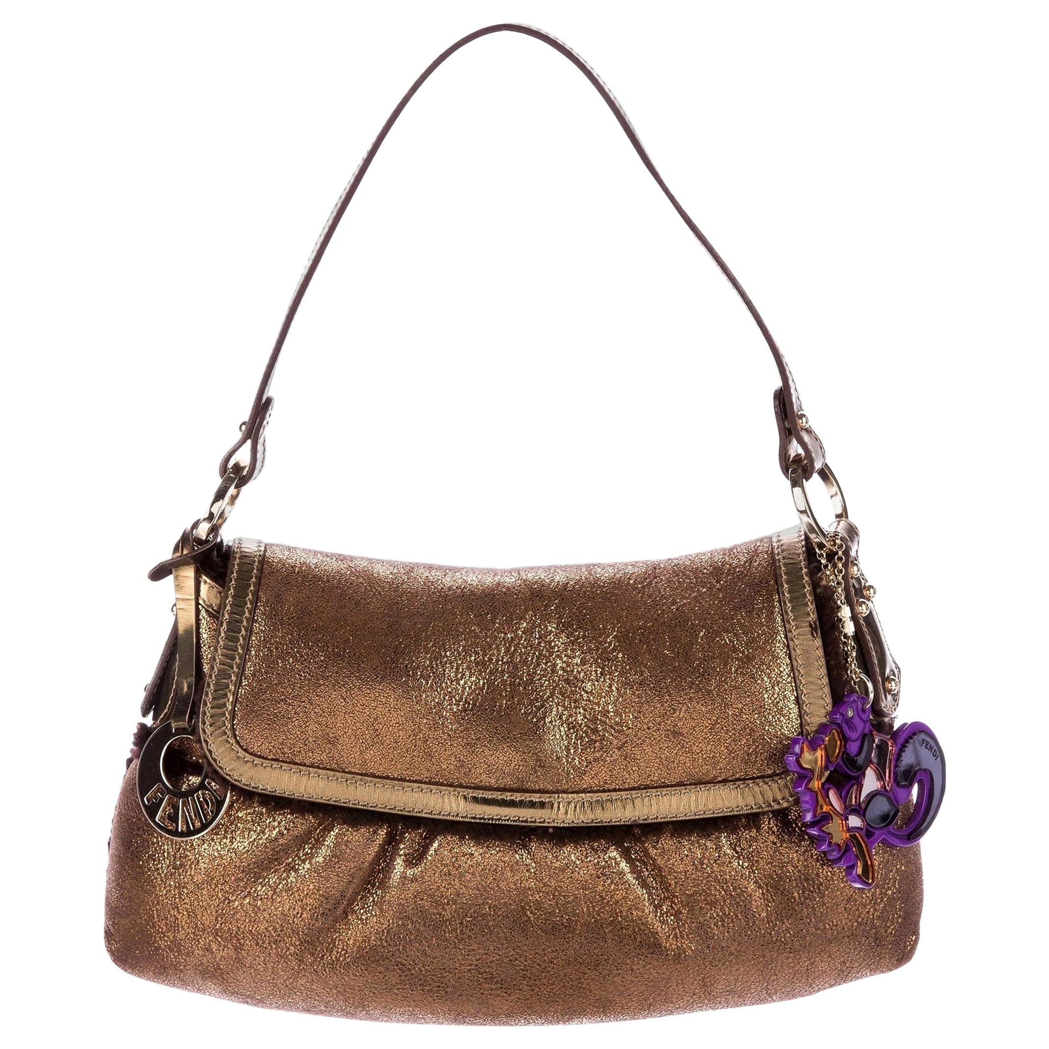New Fendi Shearling Bronze Baguette Bag With Fendi Squirrel Purse Charm