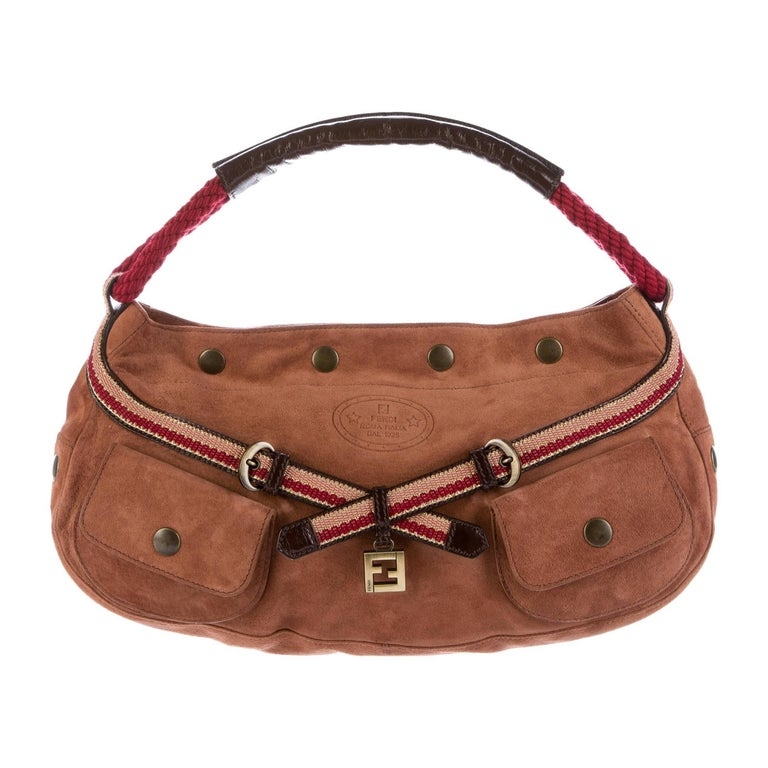 New Fendi Suede 8BR519 Hobo in Saddle Brown