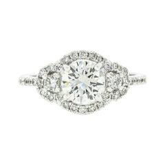 New Fine 18k White Gold 1.69ctw GIA Round Brilliant Cut Diamond Engagement Ring