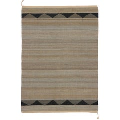 New Flat-Weave Dhurrie Rug with Contemporary Coastal Style