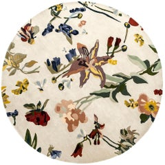 NEW, Flora Backyard Round Natural Wool Rug for Nani Marquina by Santi Moix