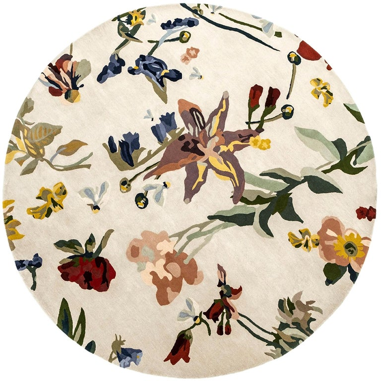 NEW, Flora Backyard Round Natural Wool Rug for Nani Marquina by Santi Moix For Sale