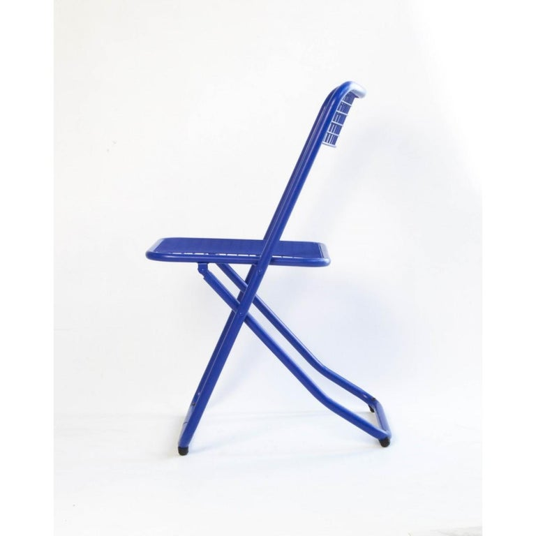 Modern New Folding Iron Chair Blue 5002 by Houtique  For Sale