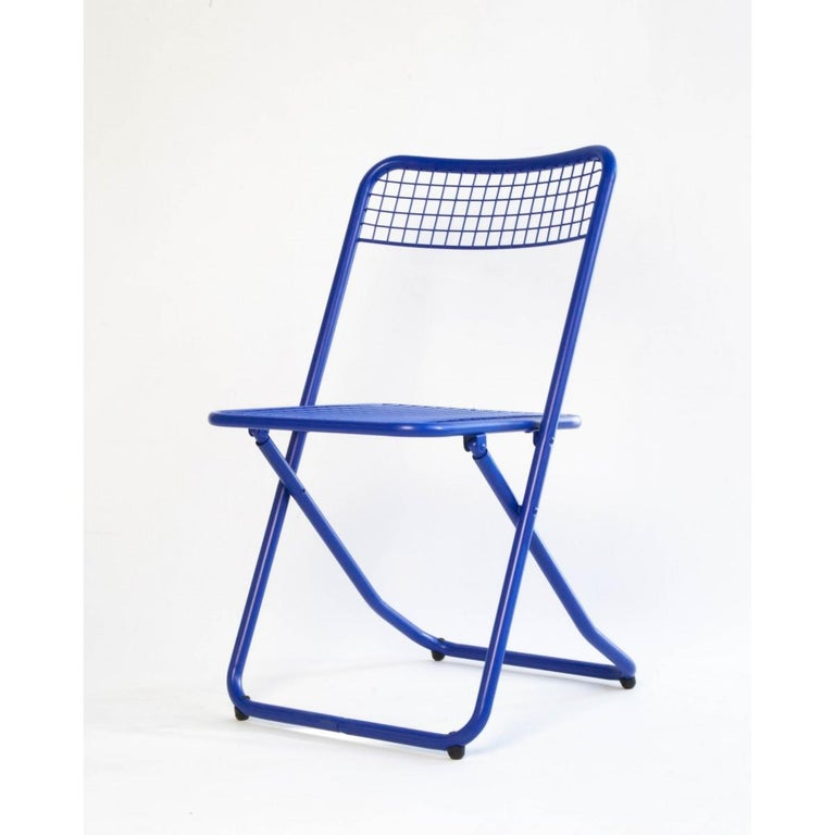 Spanish New Folding Iron Chair Blue 5002 by Houtique  For Sale