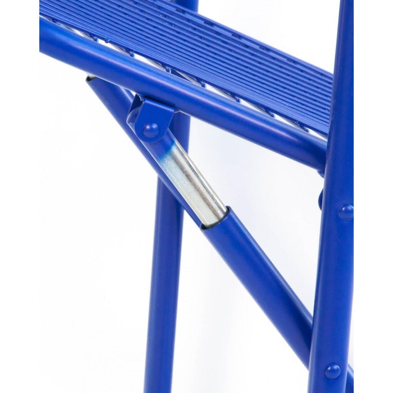 New Folding Iron Chair Blue 5002 by Houtique  In New Condition For Sale In Miami, FL