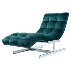 New Forest Green Velvet Milo Baughman Style Wave Chaise Lounge by Carsons