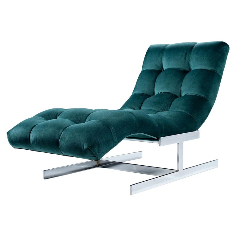 New Forest Green Velvet Milo Baughman Style Wave Chaise Lounge by Carsons 1