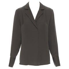 new FRAME Dark Moss green 100% silk spread collar popover shirt blouse XS