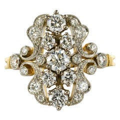 New French 1.61 Carat Diamond Platinum Yellow Gold Garden Ring
