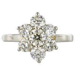 French Diamond Platinum Daisy Ring