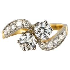 New French Diamond Platinum Gold Toi et Moi Engagement Ring