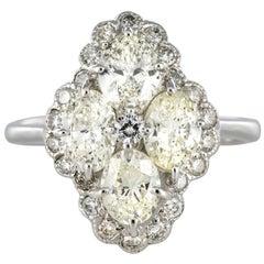 New French Modern Marquise 2.05 Carat Diamond 18 Karat White Gold Ring