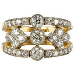 French Openwork Diamond Gold Platinum Band Ring