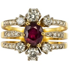French Ruby Diamond Gold Three Band Ring