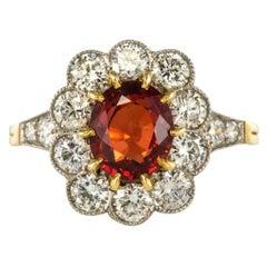 French Spessartite Garnet Diamond Gold Platinum Ring