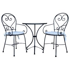 New French Wrought Iron Painting Garden Bistro Outdoor Set