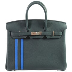 New Full Set Hermes Birkin 25 Officier Green Cypres and Blue Zellige