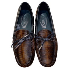 NEW Limited Edition Tod's Fur Ebony Gommino Driving Moccasins Loafers