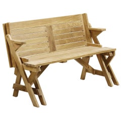 New Garden Convertible Teak Two Seats Bench, Picnic Table