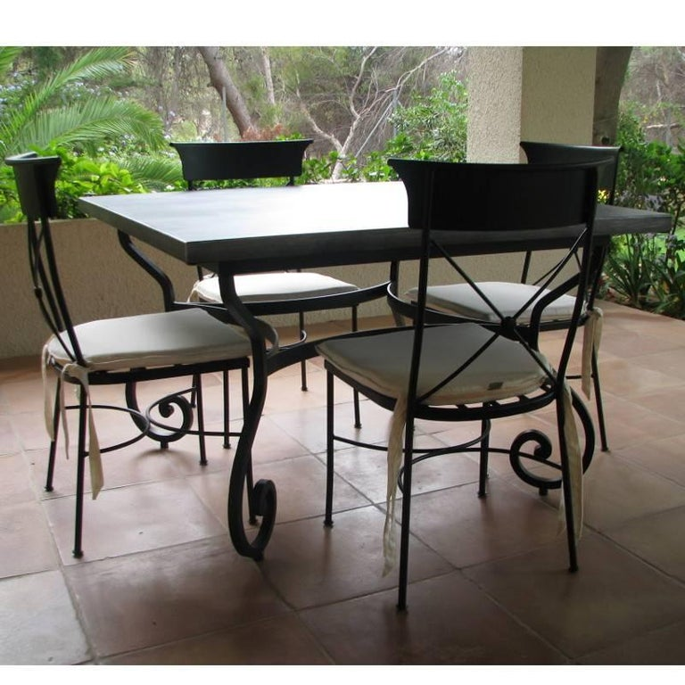 Country New Garden, Patio or Dining Table in Wrought Iron. Indoor & Outdoor For Sale