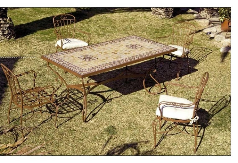 Spanish New Garden, Patio or Dining Table in Wrought Iron. Indoor & Outdoor For Sale