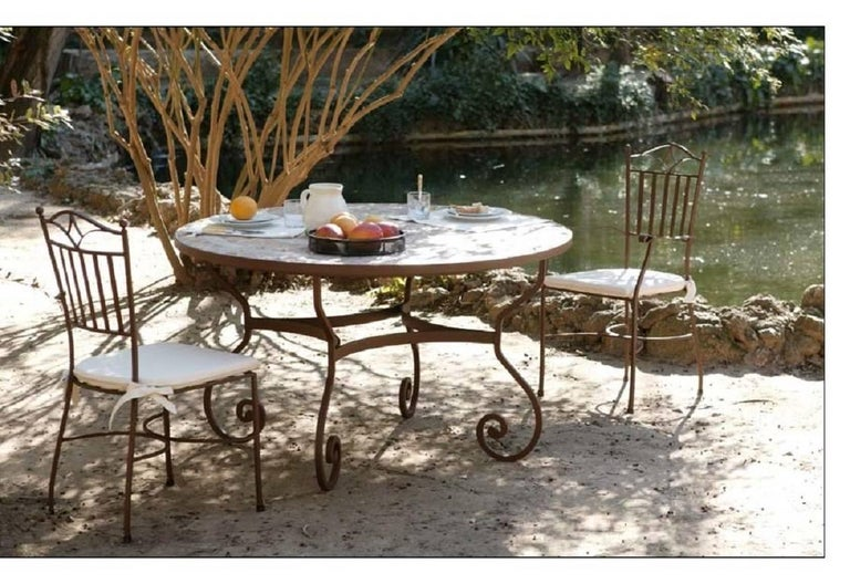 New Garden, Patio or Dining Table in Wrought Iron. Indoor & Outdoor In Excellent Condition For Sale In Miami, FL