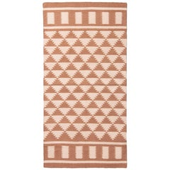 New Geometric Brown and Beige Cotton Rug