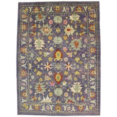 New Colorful Turkish Purple Oushak Rug with Modern Contemporary Venetian Style